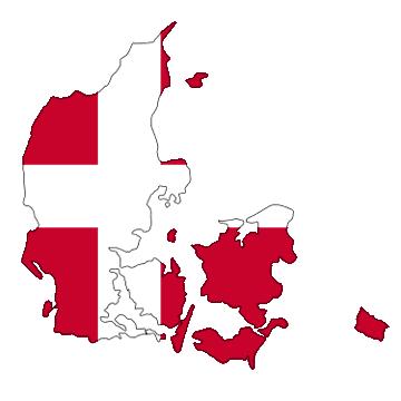 Karte und Flagge von Dänemark