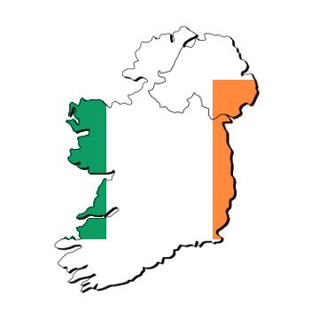 Karte und Flagge von Irland