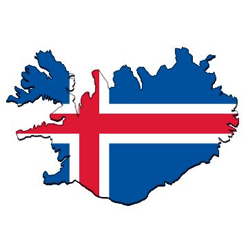 Karte und Flagge von Island