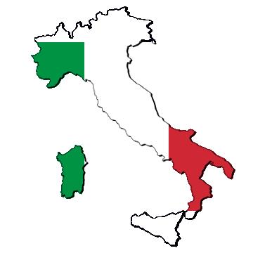 Karte und Flagge von Italien