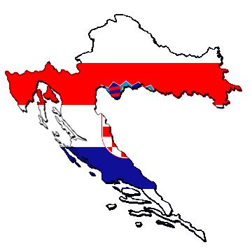 Karte und Flagge von Kroatien