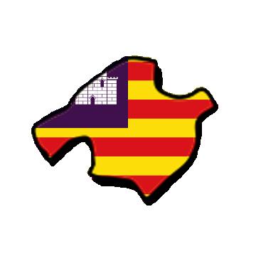 Karte und Flagge von Mallorca