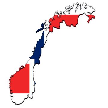 Karte und Flagge von Norwegen
