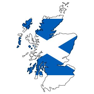 Karte und Flagge von Schottland