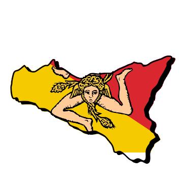 Karte und Flagge von Sizilien