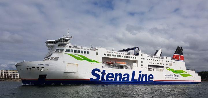 Stena Line Fähre Skane verlässt den Rostocker Hafen Richtung Trelleborg in Schweden.