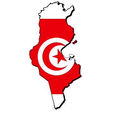 Mapa y bandera de Túnez